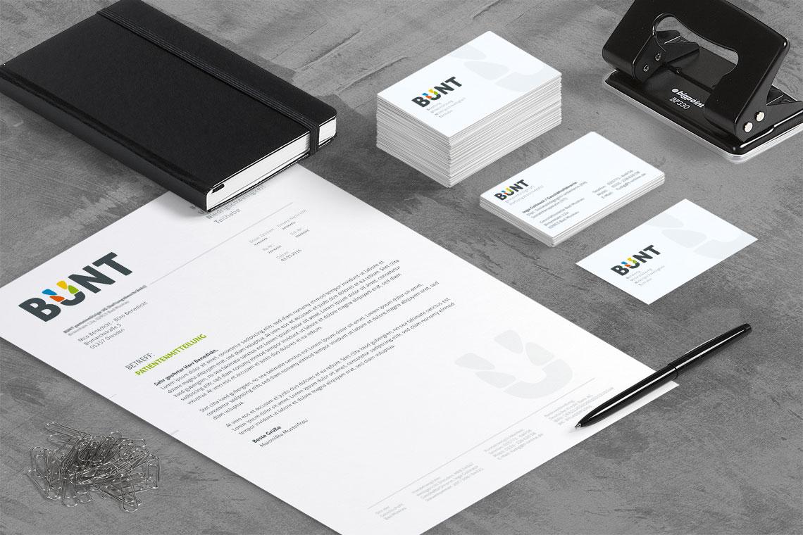Logodesign Geschäftsausstattung BUNT von BueroBenedickt