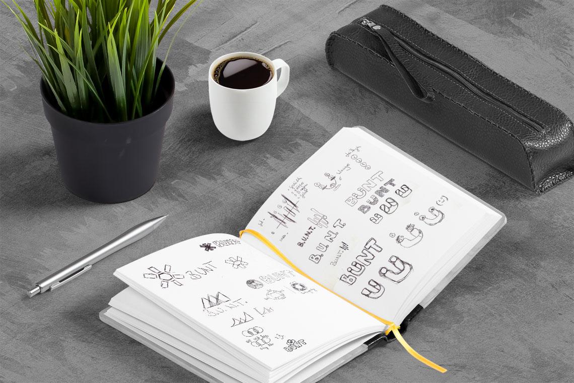 Logodesign Skizzenbuch BUNT von BueroBenedickt